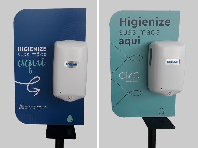 totens álcool gel automáticos com área personalizada